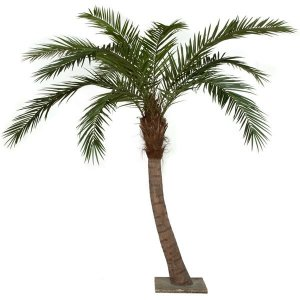 9.5' Phoenix Palm Tree - Curved - Synthetic Brown Trunk