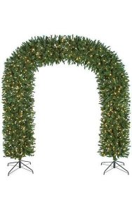 "96"" x 95"" Arch Door Christmas Tree - 1,100 Clear Lights - Wire Stands"