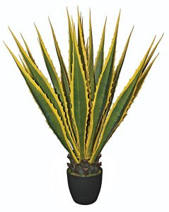 "40"" Plastic Agave Plant - 19 Green/Yellow Leaves - Weighted Base"