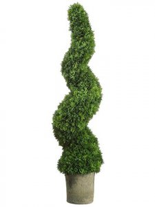 "49"" Outdoor Spiral Cedar Topiary in Dark Grey Pot Green"