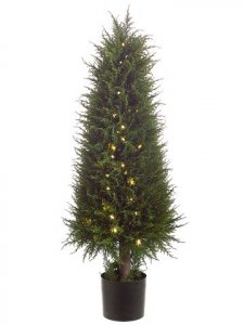 "EF-091  47"" Outdoor Cedar Topiary in Plastic Pot w/100 Led Lights Green (Price is for a 2 PC Set)"
