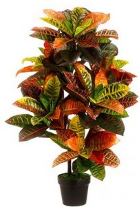 3' Outdoor Artificial Croton Palm Trees UV Rated Potted Plants