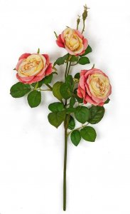 Earthflora's 20 Inch Rose Spray With Leaves - Coral/yellow, White, Or Light Pink