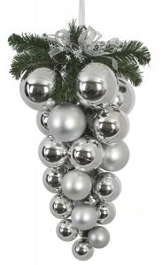 Earthflora's 24 Inch Multi-ball Drop Ornament - Silver
