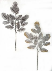 Earthflora's 26 Inch Glittered Mixed Fern Spray In Black Or Silver