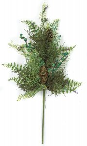 Earthflora's 29 Inch Mixed Green Foliage With Glitter, Berries, Fern, And Pine Cone Spray