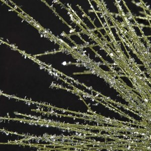 Earthflora's 30 Inch Glittered Long Leaf Pine Spray In Light Green, Gold/silver, Or Platinum Champagne