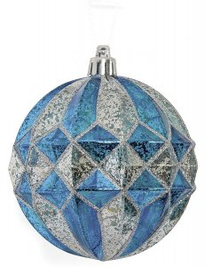 Earthflora's 4 Inch Mercury Glass Finish Ball - Blue/silver