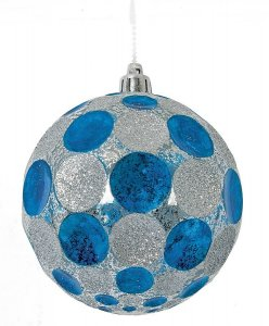 Earthflora's 4 Or 6 Inch - Shiny Mercury Glass Polka Dot Ball - Blue/silver