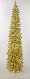 Earthflora's 5 Ft, 7.5 Ft., And 9 Ft. Sparkling Champagne Pencil Trees With Led Lights