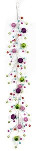 Earthflora's 6 Foot Mixed Tinsel/shiny Multi-ball Festive Garland With Pink, Red, Green, Blue, Purples