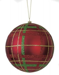 Earthflora's 6 Inch Matte Red Plaid Ball