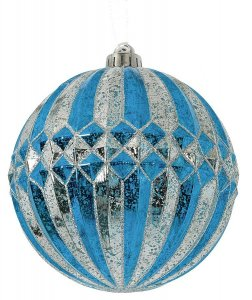 Earthflora's 6 Inch Mercury Glass Finish Ball - Blue/silver