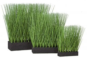 Earthflora's Planted Rectangle Pvc Onion Grass - 3 Sizes - 11 Inches, 16 Inches, And 19 Inches