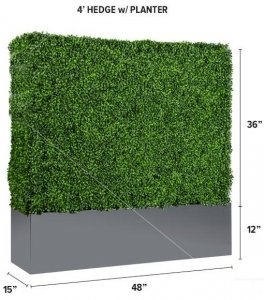 Outdoor/Indoor Artificial Boxwood Hedge with Planter