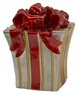 14 INCH RED AND SILVER WITH GOLD STRIPES CHRISTMAS GIFT BOX DECORATION