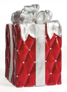 23 INCH RED AND SILVER CHRISTMAS GIFT BOX DECORATION