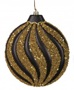 8 Inch Matte Black And Gold  Beaded Glitter  Swirl Pattern Disc Ornament