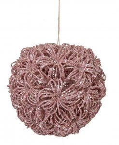 5 Inch Glittered Pink Fire Burst Ball Ornament With Silver Glitter