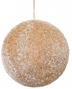 4.5 Inch Lightly Glittered Flock Natural Ball Ornament