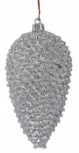 5 Inch X 3 Inch Shiny Silver Pine Cone With Glitter Ornament