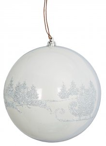 6 Inch Shiny White Glittered Deer Pattern Ball Ornament