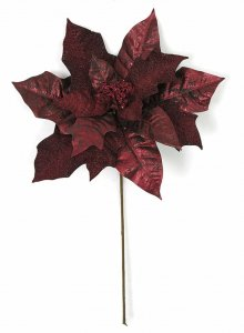 20 Inch Metallic/Glitter Poinsettia Stem - Burgundy/Wine