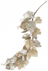 6 Foot Metallic/Glitter Champagne Fig Leaf Garland W/ Sequined Twigs