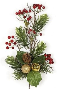 "14"" Plastic Red Berry/Ball Pick - Gold Balls/Pine Cones - Red/Green"
