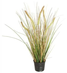 "24"" PVC Foxtail Onion Grass Bush - 5 Foxtails - Cream/Green- Weighted Base"
