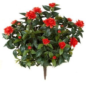 "28"" Gardenia Bush - 257 Leaves - 17 Flowers - 11 Buds - Red"
