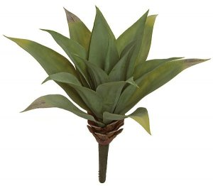"15"" Plastic Agave Plant - 15 Green Leaves - 16"" Width - Bare Stem"