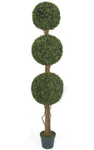 "60"" Plastic Boxwood Topiary - Synthetic Trunk - Tutone Green - Weighted Base"