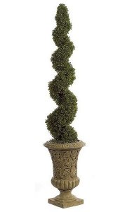 5' Plastic Outdoor  Spiral Boxwood Topiary - Tutone Green - Weighted Base