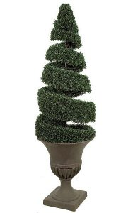 5' Plastic Outdoor Boxwood Spiral Topiary - 5,346 Green Leaves - Weighted Base