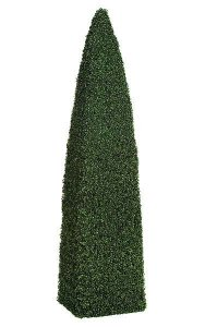 8' Plastic Boxwood Pyramid Topiary - Wire Frame - Green