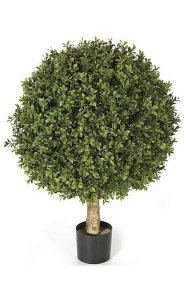 "24"" Plastic Outdoor Boxwood Ball Topiary - Natural Trunk - Tutone Green Leaves - 20"" Diameter - Weighted Base"