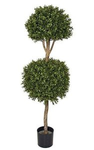 "4' Plastic Double Boxwood Ball Topiary - Natural Trunk - 16"" and 20"" Diameters"