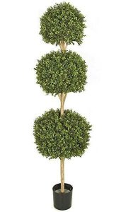 "6.5' Outdoor Plastic Boxwood Triple Ball Topiary Tutone Green - Natural Trunk - 16"", 18"", and 20"" Diameters"