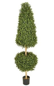 "6' Plastic Outdoor Boxwood Cone and Ball Topiary - Natural Trunk - 34"" Cone Height - 20"" Wide Ball"