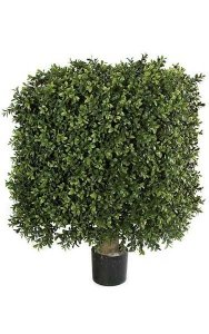"18"" x 25"" Plastic Outdoor Boxwood Square Topiary - Natural Trunk - 18"" Width - Tutone Green -"