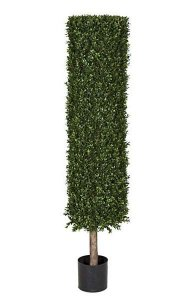 "4.5' Plastic Boxwood Cylinder Topiary - Natural Trunk - 12"" Diameter - Weighted Base - Outdoor UV Protection"