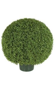 "30"" Plastic Outdoor Boxwood Ball -Green - Wire Frame with Steel Pipe - Weighted Base - Outdoor UV Resistance"