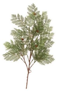 "26"" Plastic Cedar Branch - 25 Tips - 4 Mini Pine Cones"