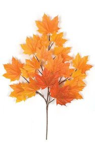 "33"" Sugar Maple Branch - 18 Leaves - Red/Orange"