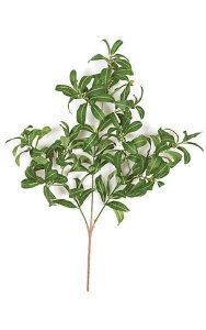 "27"" Laurel Branch - 147 Leaves - 57 White Berries - Green"