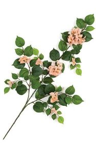 "31"" Bougainvillea Branch - 62 Leaves - 39 Flowers - Peach"