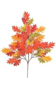 "29"" Pin Oak Branch - 54 Leaves - Red/Orange"