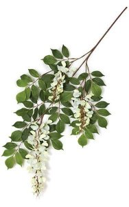 "27"" Wisteria Branch - 76 Leaves - 3 Flowers - White"