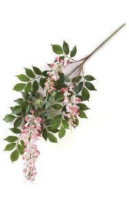 "27"" Wisteria Branch - 76 Leaves - 3 Flowers - Pink"